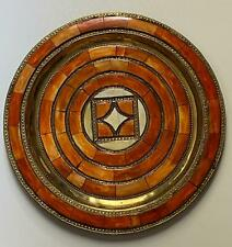 Moroccan tray - vintage, brass and bone