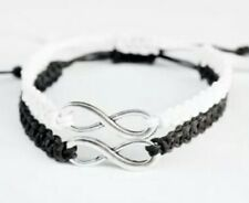 Silver infinity black-white Couple Bracelets His Hers Friendship Gifts (a pair)