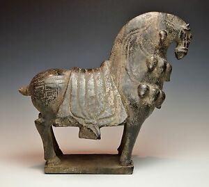 RARE ANTIQUE CHINESE STONE HORSE STATUE Museum Quality Early Dynasty Figure