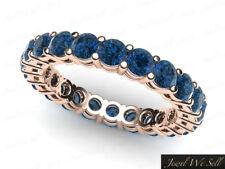 1.35Ct Round Blue Diamond Shared Prong Gallery Wedding Eternity Band Ring 18k SI