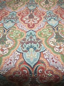 """Paisley Vera Bradley Style Pink & MultiColor Blanket Quilt  86"""" x 84""""Preowned"""