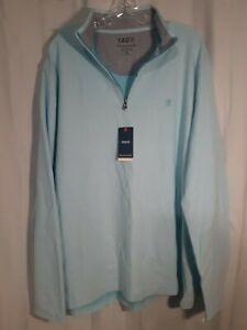 NWT Men's Izod Light Blue Quarter Zip Pullover 100% Heavyweight Cotton Size XL