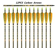 "12 x 31"" Pure Carbon Arrows For Archery Compound and Recurve Bow 20-45 lbs"
