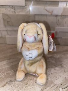 """TY Basket Beanie Babies """"GRACE"""" Praying EASTER Bunny Rabbit ORNAMENT CREASED TAG"""