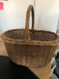 Large adult old style wicker shopping basket with handle