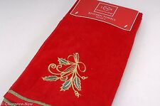 Lenox Red Christmas Holiday Kitchen Twoel Set of 2 Gold Holly Cotton New 4639