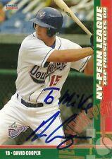 2008 Auburn Doubledays DAVID COOPER Signed Card autograph BLUE JAYS CAL BEARS