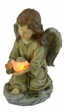 Solar Powered Angel Holding Dove Garden Statue Led Light Outdoor Decor Statues