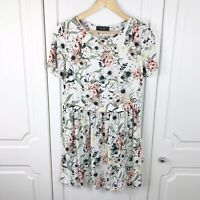Dorothy Perkins Lightweight Ivory Floral Summer Tunic Dress Size 10 VGC Holiday