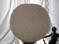 """GWTW 10 """" LAMP GLOBE SATIN PINK CASED GLASS EMBOSSED 4"""" FITTER 9 1/2 h SHADE"""