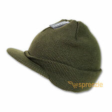 Olive Green Beanie Visor Knitted Skull Cap Hat Colors Wam Winter Ski Snow Head