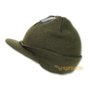 Olive Green Beanie Visor Knitted Skull Cap Hat Colors Wam Winter Ski Snow Head