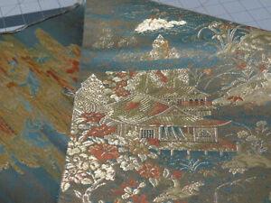 Japanese Silk Obi Fabric Teal Blue Temple in Scenery/Landscape/Lake (12 x 19)