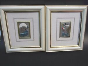 2x Sterling Silver 925 Relief  Clowns Framed Pictures Made Italy Modern Art Gift