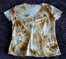 Jason Maxwell V-neck Shirt size medium M - brown/beige/sheer