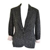 Anthropologie Cartonnier Large Womens Dark Gray Knit Dashes Blazer Pink Cuffs