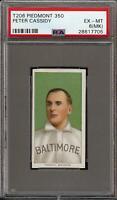 Rare 1909-11 T206 Peter Cassidy Portrait Piedmont 350 Baltimore PSA 6 EX - MT