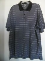 Adidas Mens Shirt Size XL Black Striped Short Sleeve Golf Polo Clima Cool