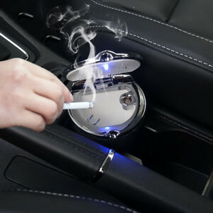 Blue LED Office Home Auto Cigarette Smoke Ashtray Ash Cylinder Cup Holder Can
