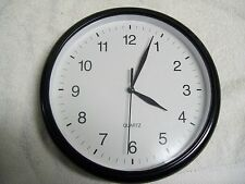 "Living Solutions Black & White Round Quartz Wall Clock 10"" Diameter"
