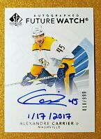 2017-18 UD SP Authentic Future Watch Autograph Inscribed Alexandre Carrier #185