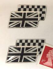 2 X Británico Union Jack & Bandera a Cuadros Pegatinas Super acabado brillante abovedado