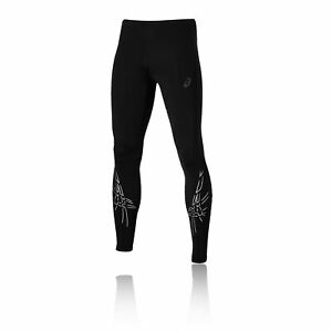 Asics Mens Stripe Running Tights Bottoms Pants Trousers Black Sports Breathable