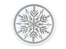 """25 Silver Snowflake 2"""" Round Seals Christmas Cards Cello bags Labels Envelopes"""