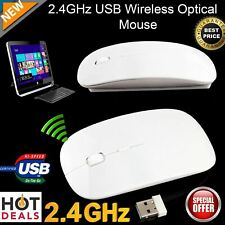 Slim 2.4 GHz USB Optical Wireless Cordless Scroll Mouse for Mac PC Laptop WHITE