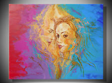 Abstraction large modern colorful painted picture girl the original hand-painted