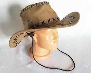 VINTAGE AUTHENTIC BROWN MEN'S COWBOY BUSH HAT:US 7 1/4;EU 58