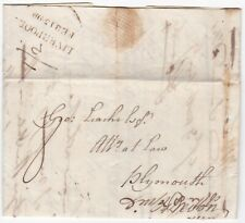 # 1799 2 LINE LIVERPOOL PMK LETTER SAMUEL WESTON TO PLYMOUTH WITH DRAFT REPLY