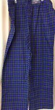 Men XXL flannel pajama w/ pockets Blue grey  plaid Stafford 100% cotton XXL