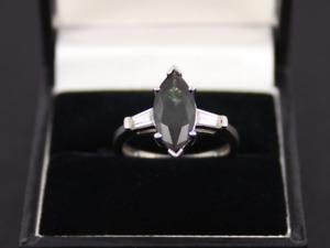 Tsavorite Solitaire Ring Sterling Silver Ladies Size N 1/4 925 3.2g Kb18