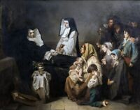 """oil painting  """"  Death of Mother Saint Prosper, nun, sister of charity,"""