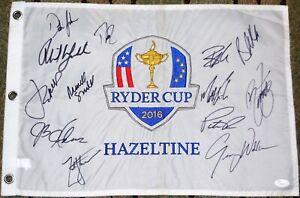 Dustin JOHNSON Spieth KOEPKA MICKELSON+ Signed 2016 USA Ryder Cup FLAG JSA LOA