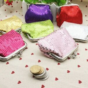 Ladies Small Purse Coin Pouch Key Holder Women Wallet Shiny Sequin Clutch UK