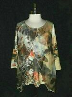 ONE WORLD Size XL Shirt Top Beige Black Red Floral Sparkle Stretch 3/4th Sleeve
