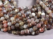 """SUPER BANDED BOTSWANA AGATE FACETED 8MM ROUND BEADS 15"""" STR BROWN GRAY PINK"""