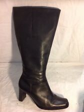 Essence Black Knee High Leather Boots Size 6