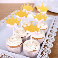 1 Set of 24 Gold Glitter Crown Cupcake Toppers Picks Wedding Party BABY SHOWER