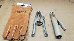 3 Arc Stick Welding Tools Gloves Ground Clamp & Stinger