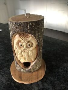 Hand Carved Owl In Log Bird House Feeder 22cm High