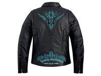 Harley Davidson Womens Sahara Black Leather Jacket Turquoise Blue 97083-12VW S M