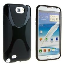 X-Line Curve TPU Gel Case Cover For Samsung Galaxy Note II 2 Note2 N7100 Black