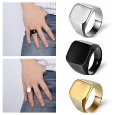 Available Solid Polished Stainless Steel Band Biker Men Signet Ring