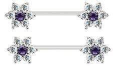 """Pair of Multi CZ Flower Steel Nipple Piercing Rings Barbells - 14G 5/8"""""""