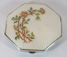 VINTAGE ART DECO HM Silver Floral White guillochée enamel powder compact 1932