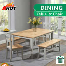Elegant Solid Wood Dining Table Set with Chair & Bench
