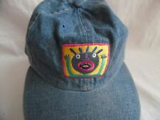 ADAMS BLUE JEANS CRAZY FACE EMBROIDERY LEATHER ADJUSTABLE STRAP BASEBALL HAT CAP